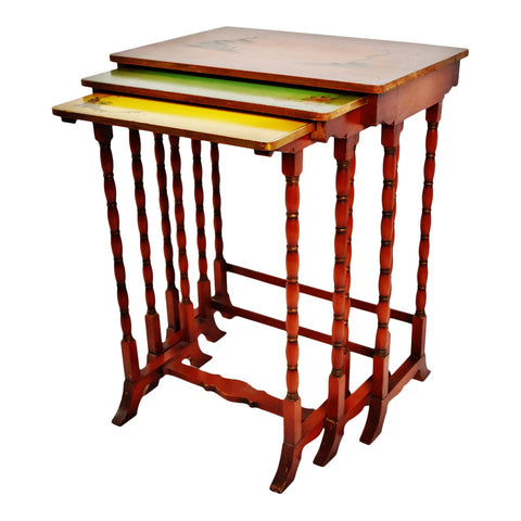 Vintage Asian Hand Painted Nesting Tables - Set of 3