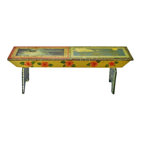 Vintage Peter Hunt Style Folk Art Hand Painted Bench