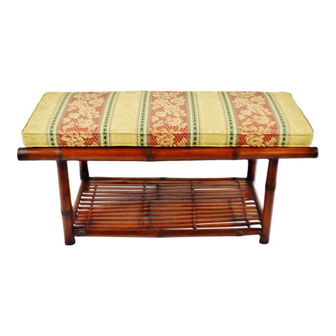 Vintage Bamboo and Rattan Hall Bench with Cushion