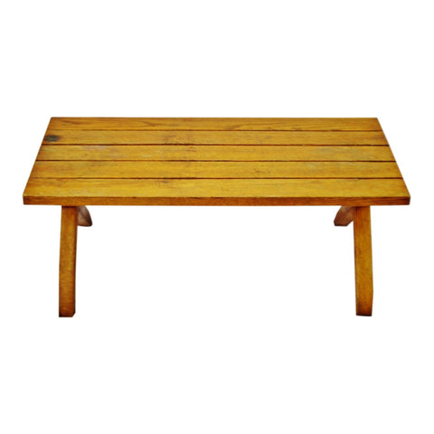 Vintage Slatted Wood Bench