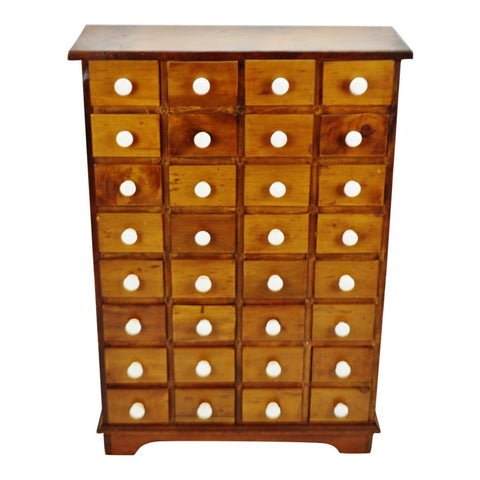 Antique 32 Drawer Apothecary Cabinet with Porcelain Knobs