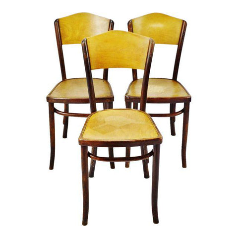 Set of 3 Vintage 1920's Fischel Bentwood Cafe Chairs Thonet Bentwood Style