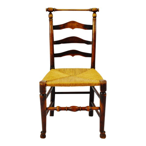 Antique Hand Hewn Walnut Rush Seat Ladder Back Side Chair