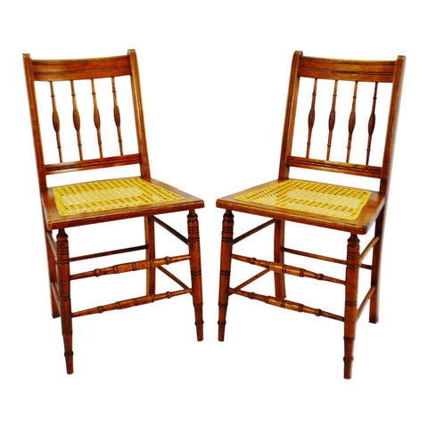 Vintage Hand Caned Oak Spindle Back Side Chairs - A Pair