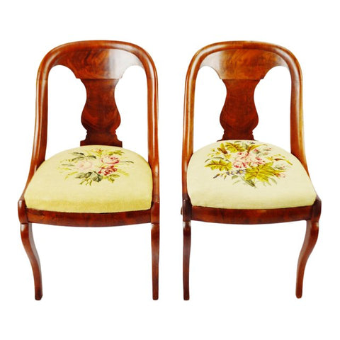 Antique French Empire Burl Walnut Side Chairs - A Pair