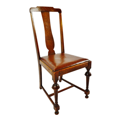 Antique Quartersawn Oak T Back Leather Upholstered Side Chair