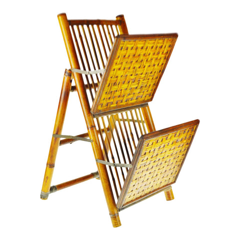 Mid Century Bamboo and Rattan Two Tier Folding Magazine Rack