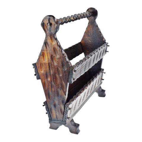 Vintage Carved Wood Magazine Rack Made in Spain