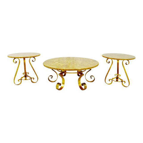 Vintage Enzo Missoni Stone & Gold Leaf Coffee & End Tables - Set of 3