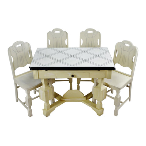Art Deco Porcelain Enamel Top Dining Set - 5 Piece