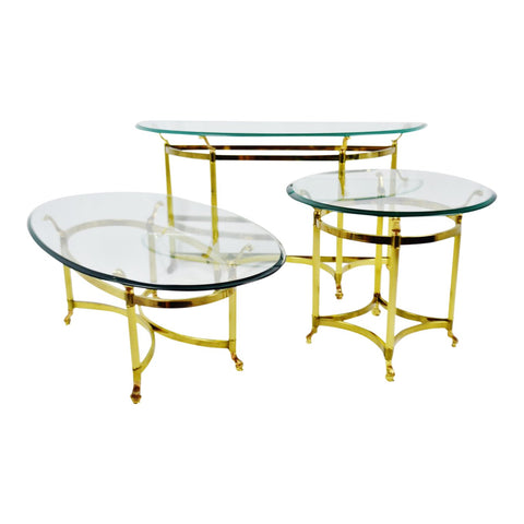 Vintage Maison Jansen Style Brass & Glass Living Room Tables - Set of 3