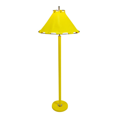 Mid Century Modern Yellow Floor Lamp w/ Naugahyde Lamp Shade