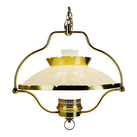 Vintage Hanging Lamp with Frosted to Clear Glass Shade