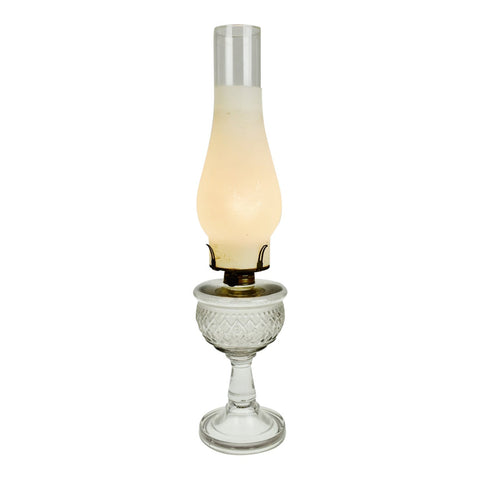 Vintage Pressed Glass Electrified Oil Lamp