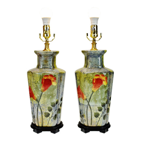 Vintage Oriental Accent Ceramic Table Lamps - A Pair