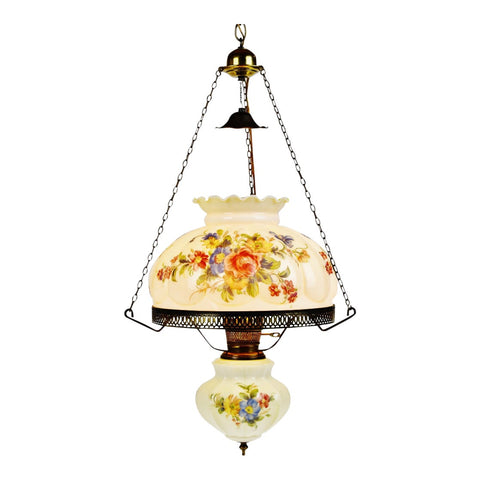 Antique Electrified Hanging Oil Lamp Swag Pendant Chandelier