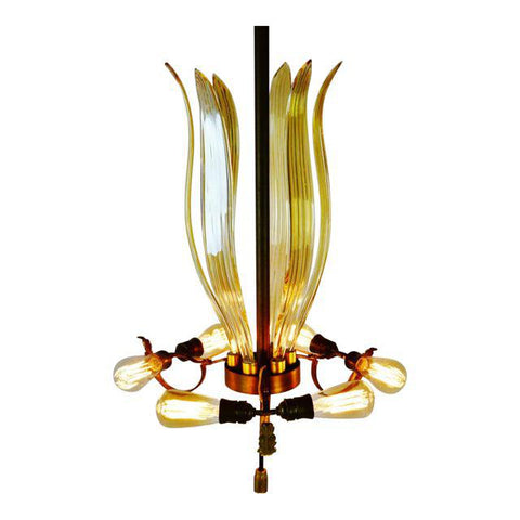 Art Deco Venetian Glass and Brass 7 Light Chandelier