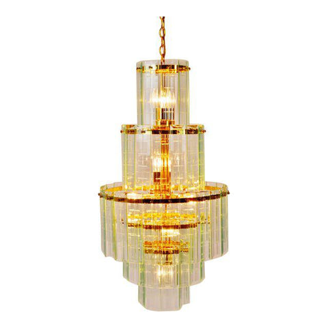 Mid Century 5 Tier Brass and Etched Glass Prism Chandelier