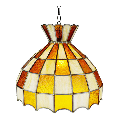Vintage Tiffany Style Leaded Glass Chandelier Pendant Light