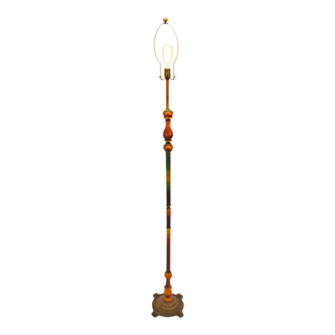 Vintage Art Deco Turned Wood Floor Lamp