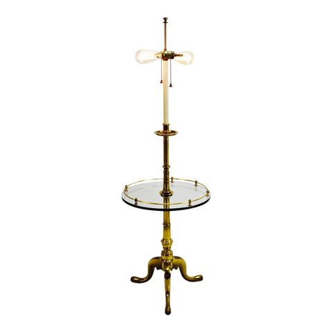 Vintage Brass and Glass Stiffel Table Floor Lamp