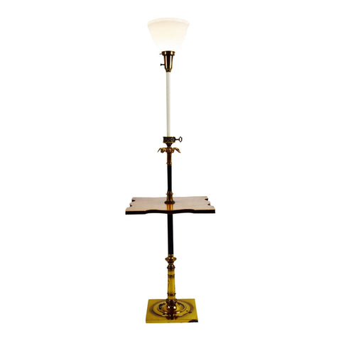 Vintage Brass and Wood Stiffel Torchiere Table Floor Lamp