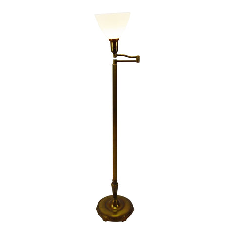 Vintage Swing Arm Floor Lamp with Milk Glass Diffuser