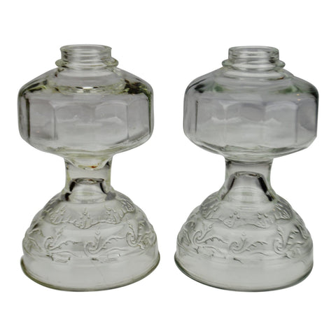 Vintage Embossed Glass Oil Lamp Bodies - A Pair