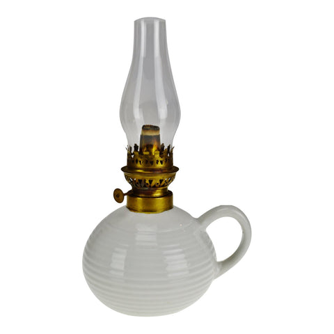 Vintage White Glazed Ceramic Oil Lamp