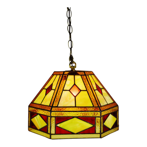 Vintage Tiffany Style Leaded Glass Stained Glass Pendant Light