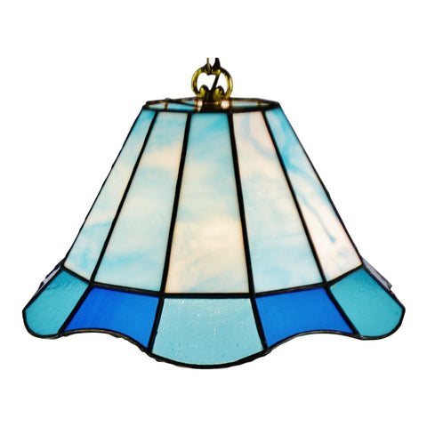 Vintage Tiffany Style Blue Leaded Glass Stained Glass Pendant Light