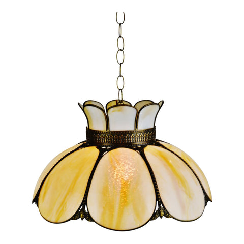 Vintage Cream & Caramel Swirl Slag Glass and Brass Pendant Chandelier Light