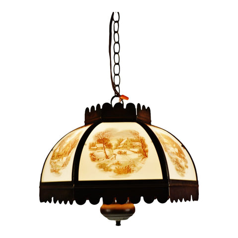 Vintage Currier & Ives Chandelier Pendant Light