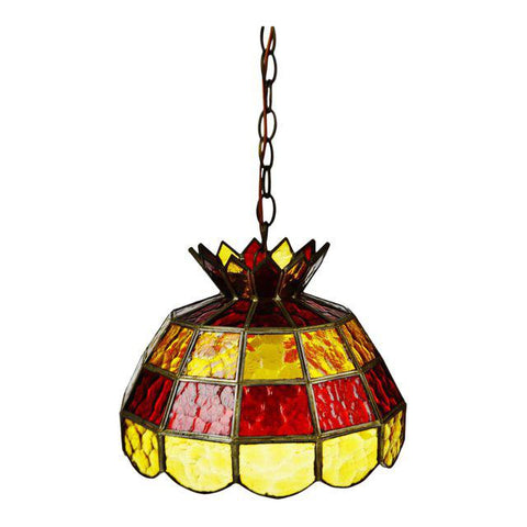 Mid Century Stained Glass Amber and Red Glass Pendant Chandelier