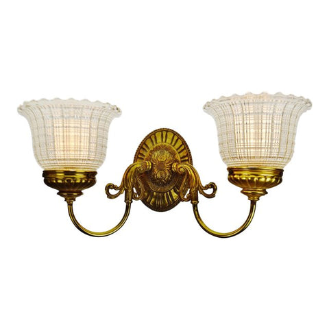 Vintage Brass Wall Sconce with Holophane Glass Shades