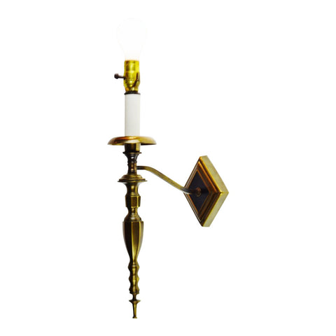 Vintage Brass & Leather Candlestick Style Wall Sconce