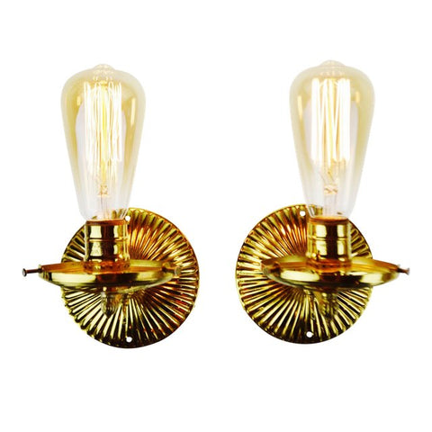 Vintage Brass Victorian Gas Style Wall Sconces - A Pair