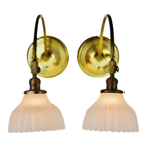 Victorian Style Brass Wall Sconces by Chase Brass - A Pair