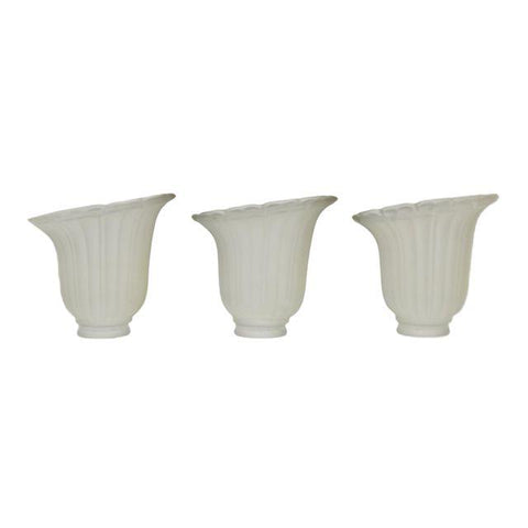 Mid Century Frosted Glass Angled Tulip Shades - Set of 3
