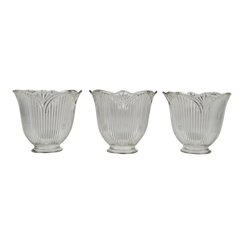 Vintage Tulip Holophane Glass Light Shades - Set of 3