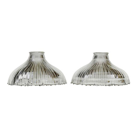 Art Nouveau 1905 Franklin Ribbed Glass Light Shades - A Pair