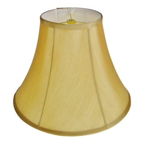 Vintage Tan Fabric Lined Bell Lamp Shade