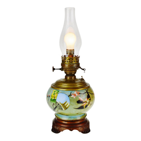 Antique Hand Painted Electrified Plume & Atwood Oil Lamp