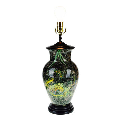 Vintage Asian Style Reverse Decoupage Glass Table Lamp