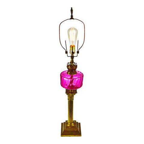 Victorian English Made Cranberry Glass Font Duplex Oil Lamp - Electrified