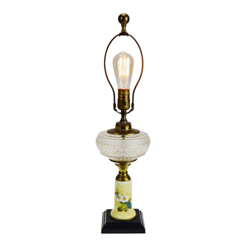 Vintage Electrified Oil Lamp Yellow Porcelain Column Base