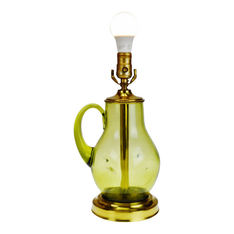 Vintage Green Dimpled Glass Jug Table Lamp