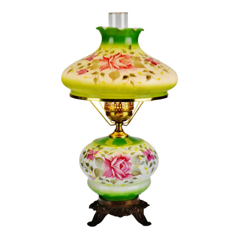 Vintage Hand Painted Floral Electrified Oil Table Parlor Lamp