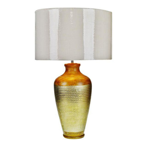 Handcrafted Inlaid Mango Wood and Matte Nickel Textured Metal Table Lamp