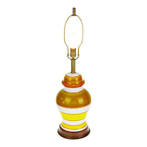 Vintage Ginger Jar Style Porcelain Table Lamp with Wood Base